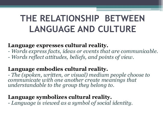 relationship between language and culture essay 23-3-2015 introduction relationships among language, culture and identity have become a favourite topic in social science for decades language as one element.