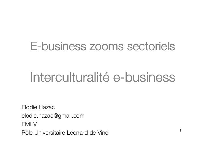 E-business zooms sectoriels   Interculturalité   Interculturalité e-businessElodie Hazacelodie.hazac@gmail.comEMLV        ...