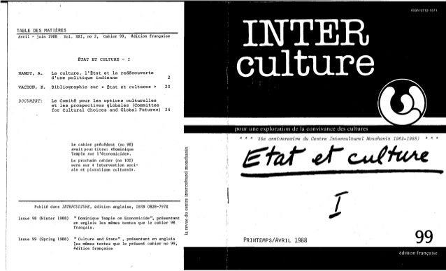 Interculture 16 etat et culture