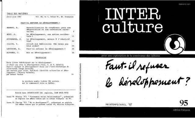 Interculture 17 faut-il refuder le developpement?