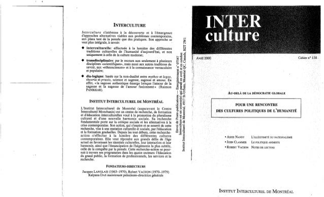 Interculture 7 au delà de la democratie globale