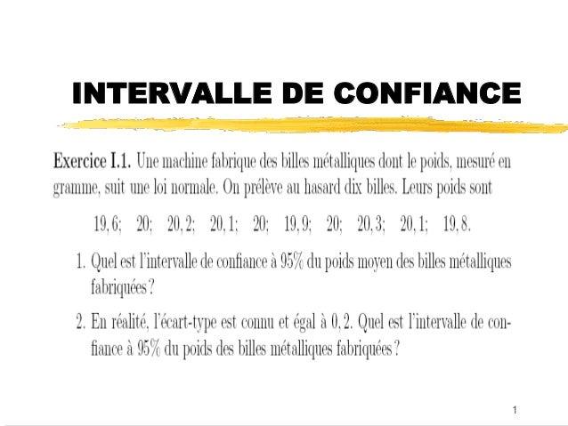 INTERVALLE DE CONFIANCE                      1