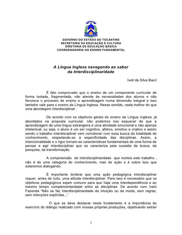 GOVERNO DO ESTADO DO TOCANTINS                       SECRETARIA DA EDUCAÇÃO E CULTURA                         DIRETORIA DE...