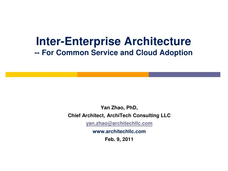 Inter-Enterprise Architecture-- For Common Service and Cloud Adoption                     Yan Zhao, PhD,        Chief Arch...