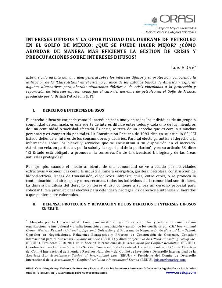 DERRAME DE PETROLEO: Intereses Difusos & Gestion Crisis