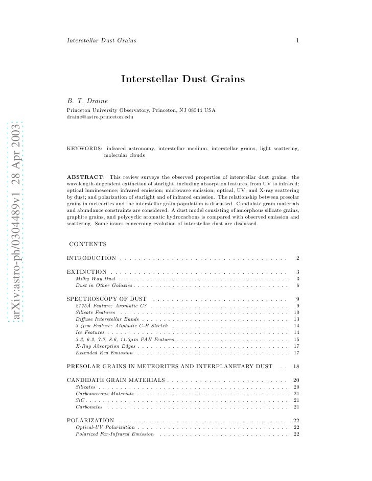 Interestelar dust grains