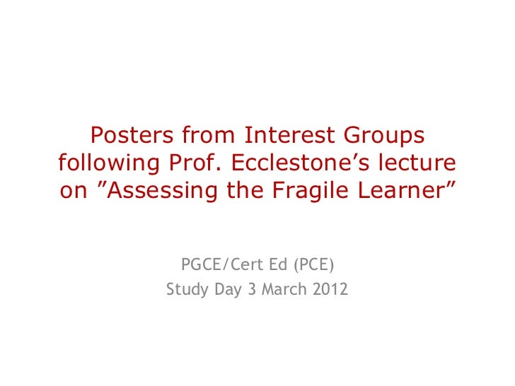 """Posters from Interest Groupsfollowing Prof. Ecclestone's lectureon """"Assessing the Fragile Learner""""           PGCE/Cert Ed ..."""