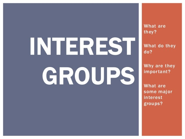 What are           they?INTEREST   What do they           do? GROUPS           Why are they           important?          ...