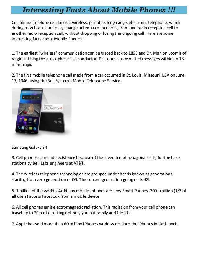 Interesting facts about mobile phones