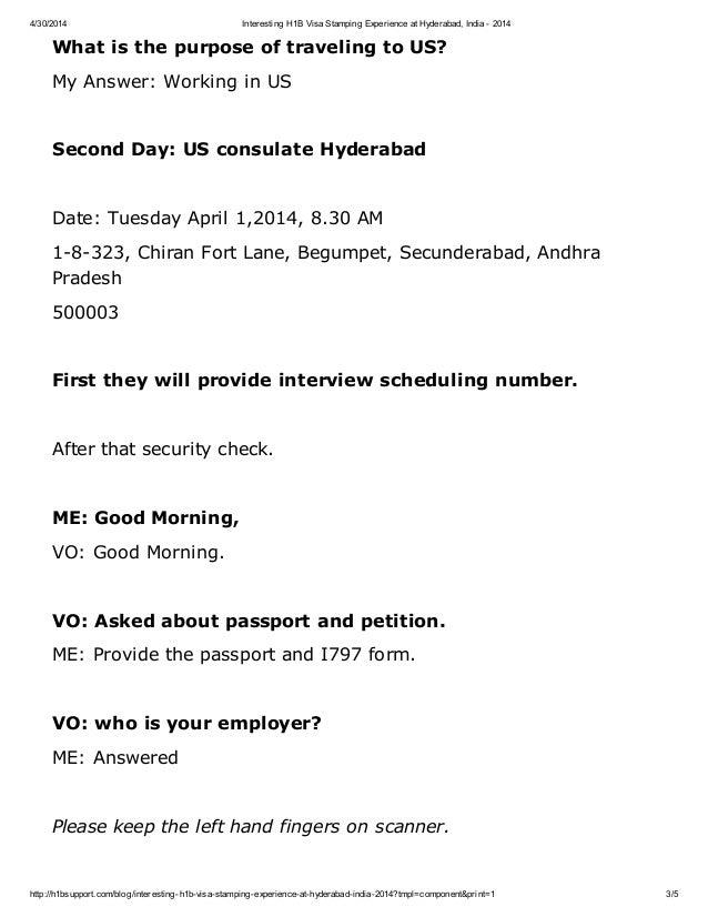 Interesting h1b visa stamping experience at hyderabad india 2014