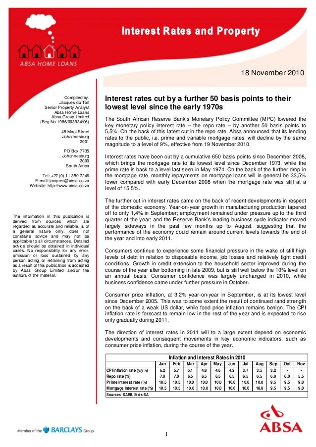1 18 November 2010 Compiled by: Jacques du Toit Senior Property Analyst Absa Home Loans Absa Group Limited (Reg No 1986/00...
