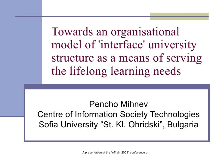 Towards an organisational model of 'interface' university structure as a means of serving the lifelong learning needs   Pe...