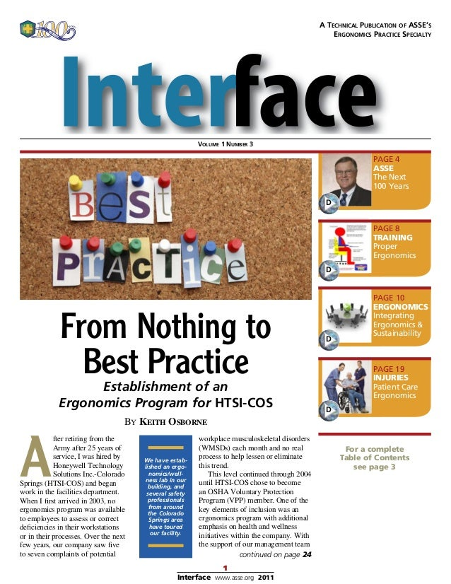 1 Interface www.asse.org 2011 From Nothing to Best PracticeEstablishment of an Ergonomics Program for HTSI-COS For a compl...