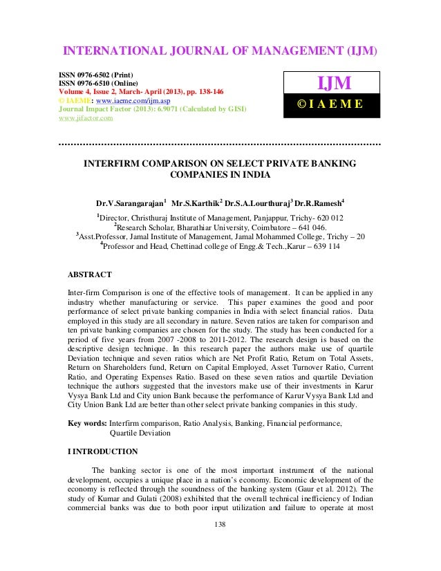 Interfirm comparison on select private banking companies in india