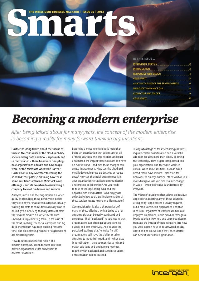 THE INTELLIGENT BUSINESS MAGAZINE | ISSUE 32 | 2013  IN THIS ISSUE... Intergenite photos	  2  Introduction	3 Responsive We...