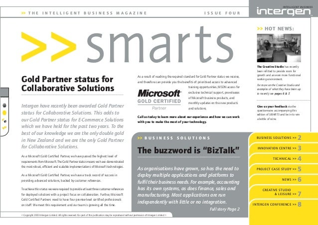 Gold Partner status for Collaborative Solutions I S S U E F O U R >> HOT NEWS: >> T H E I N T E L L I G E N T B U S I N E ...