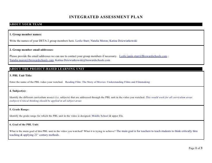INTEGRATED ASSESSMENT PLAN ABOUT YOUR TEAM   1. Group member names:  Write the names of your DETA 2 group members here. Le...