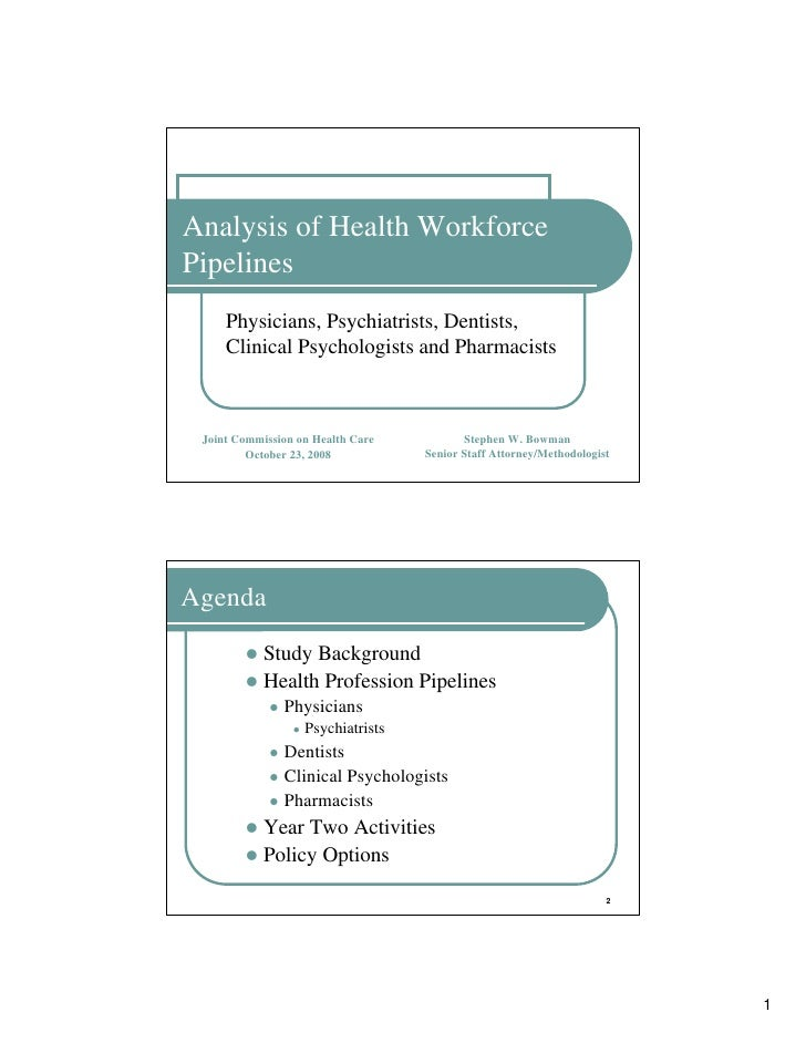 Analysis of Health Workforce Pipelines      Physicians, Psychiatrists, Dentists,      Clinical Psychologists and Pharmacis...