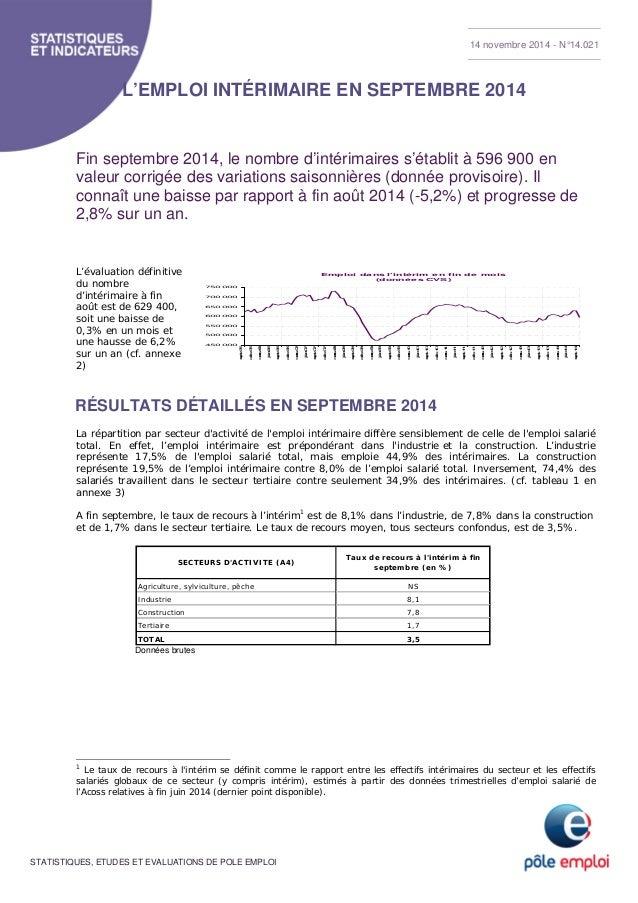 STATISTIQUES, ETUDES ET EVALUATIONS DE POLE EMPLOI L'EMPLOI INTÉRIMAIRE EN SEPTEMBRE 2014 Fin septembre 2014, le nombre d'...