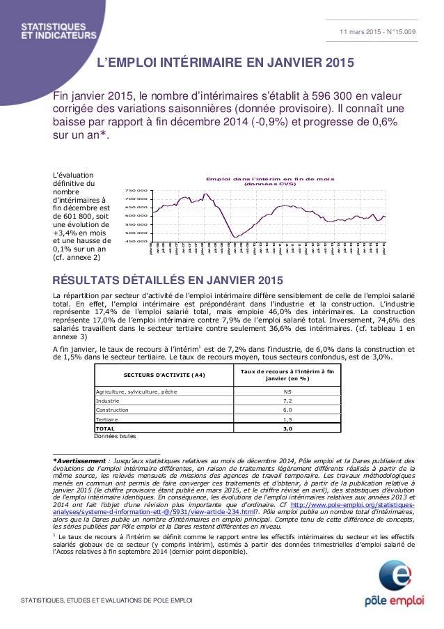 STATISTIQUES, ETUDES ET EVALUATIONS DE POLE EMPLOI L'EMPLOI INTÉRIMAIRE EN JANVIER 2015 Fin janvier 2015, le nombre d'inté...