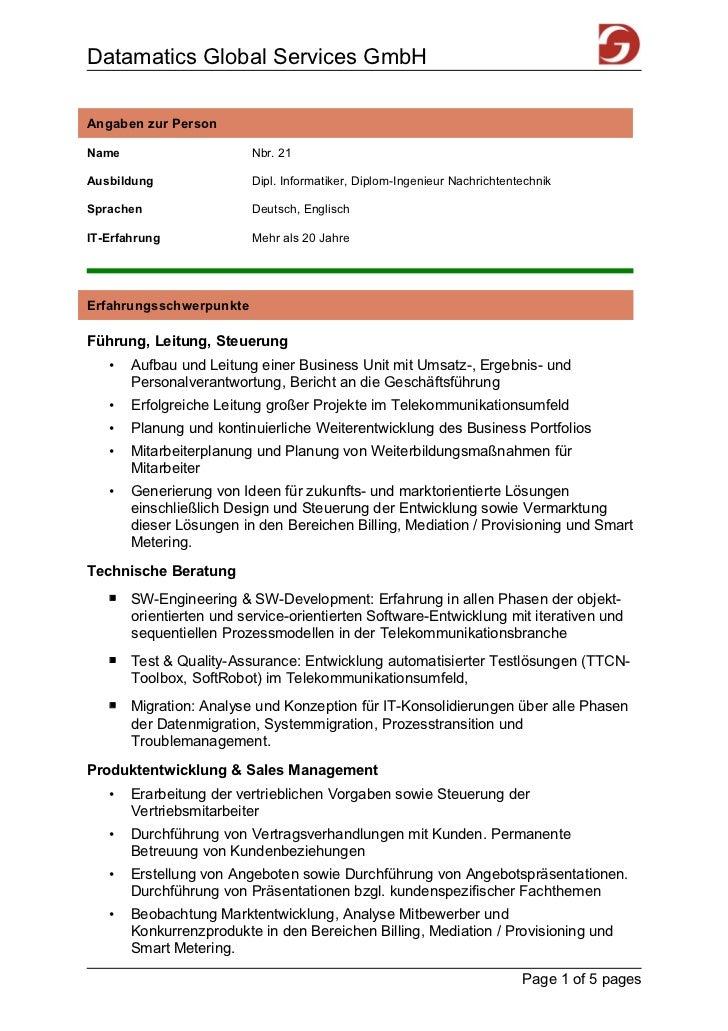 Datamatics Global Services GmbHAngaben zur PersonName                     Nbr. 21Ausbildung               Dipl. Informatik...