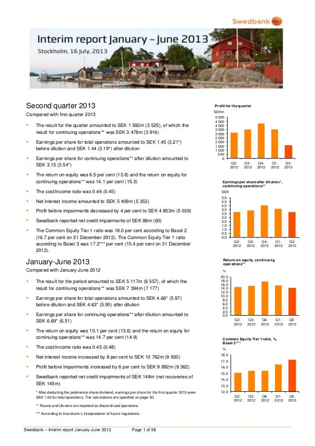 Swedbank – Interim report January-June 2013 Page 1 of 58 Second quarter 2013 Compared with first quarter 2013  The result...