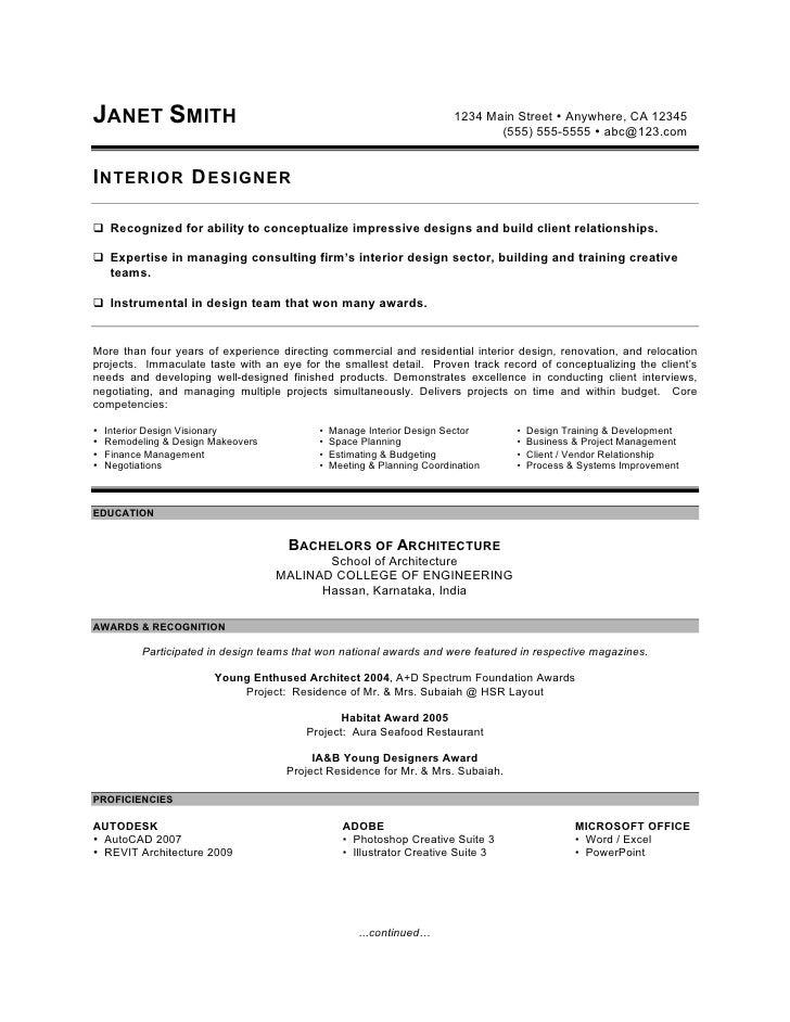 Resume For A Junior Interior Designer