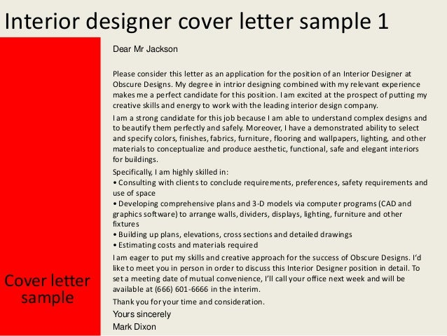 cover letter for interior design project