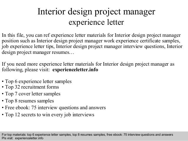 Interior design project manager experience letter for Interior design assignments examples