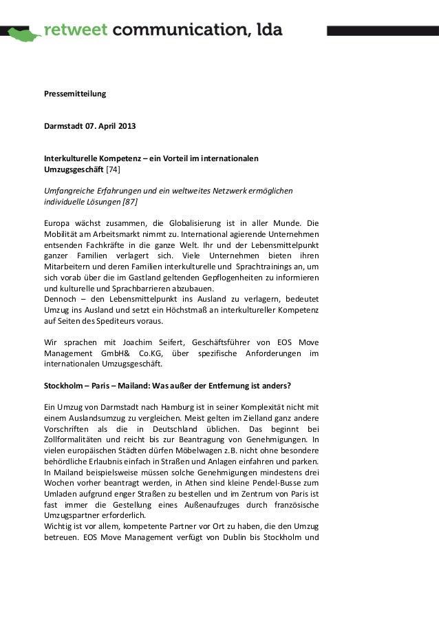 PressemitteilungDarmstadt 07. April 2013Interkulturelle Kompetenz – ein Vorteil im internationalenUmzugsgeschäft [74]Umfan...