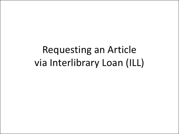 Requesting an Article via Interlibrary Loan (ILL)