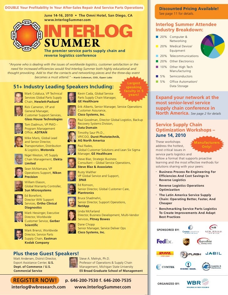 Interlog Summer 2010: Service Parts Supply Chain and Reverse Logistics Conference