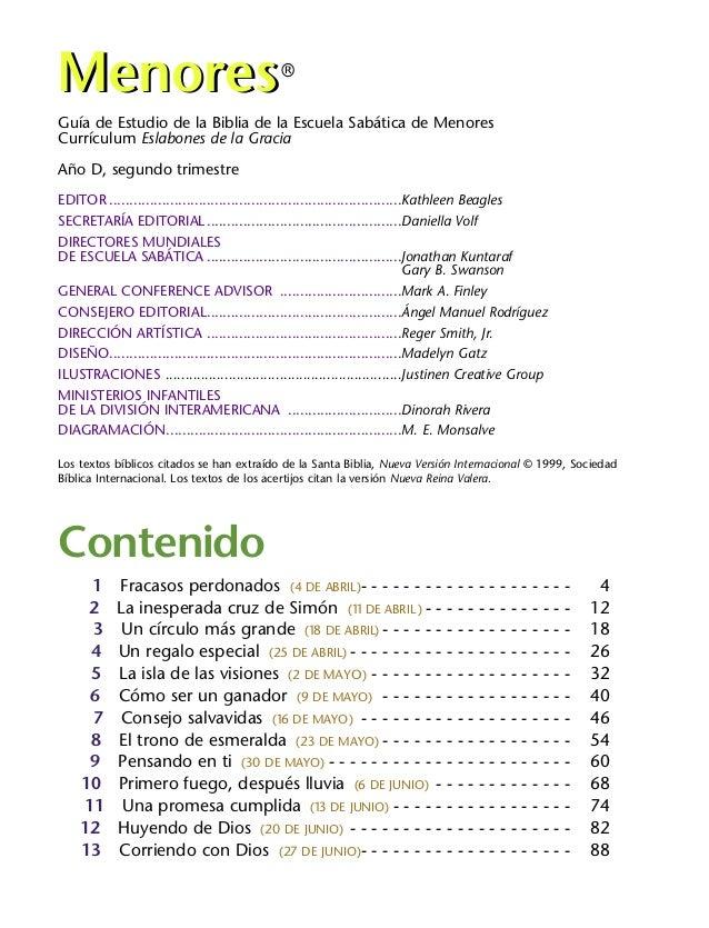 Guía de Estudio de la Biblia de la Escuela Sabática de Menores Currículum Eslabones de la Gracia Año D, segundo trimestre ...