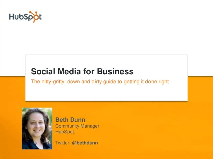 Social Media for Business<br />The nitty-gritty, down and dirty guide to getting it done right<br />Beth Dunn<br />Communi...