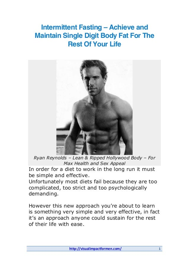 Intermittent Fasting - Achieve and Maintain Single Digit Body Fat for the Rest of Your Life
