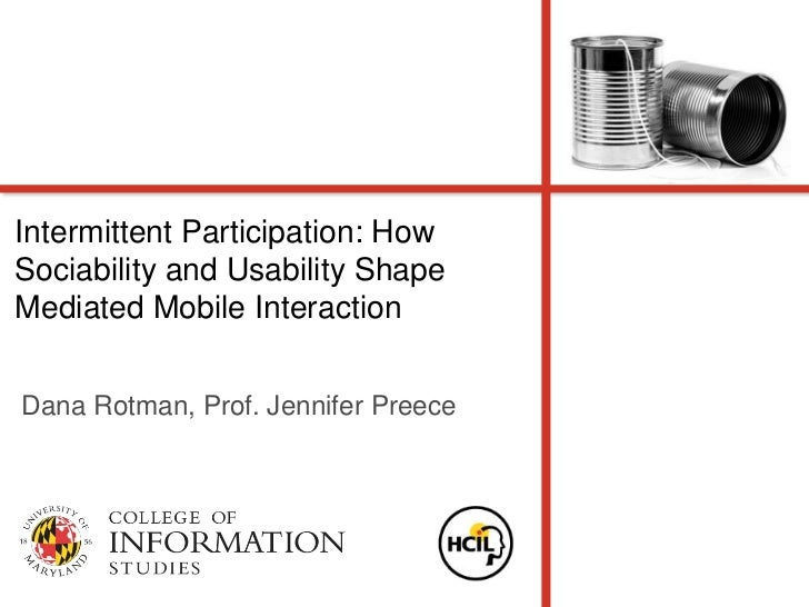 Intermittent participation how sociability and usability shape mediated mobile interaction