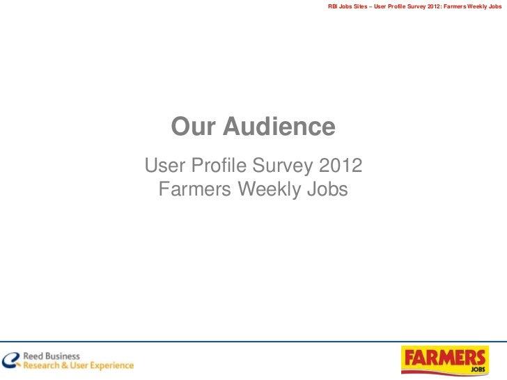 RBI Jobs Sites – User Profile Survey 2012: Farmers Weekly Jobs  Our AudienceUser Profile Survey 2012 Farmers Weekly Jobs