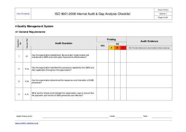 Iso 9001 audit checklist example