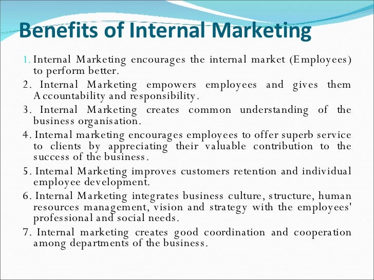 internal marketing essay Are failing to centre sufficient attention on the postulates of internal marketing,   keywords hotel industry, production and service staff, internal marketing.