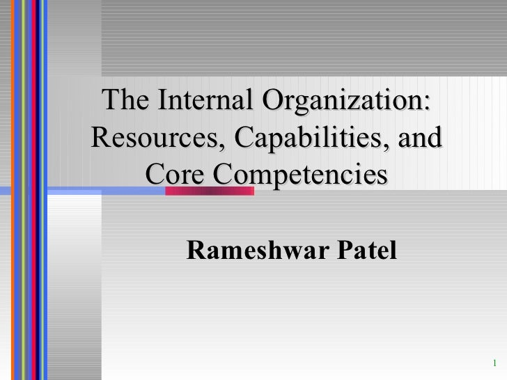 The Internal Organization: Resources, Capabilities, and Core Competencies Rameshwar Patel
