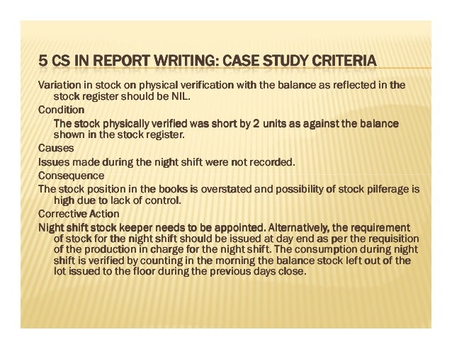 Case study report writing
