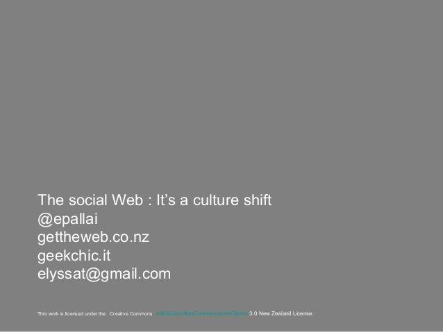 The social Web: It's a culture shift