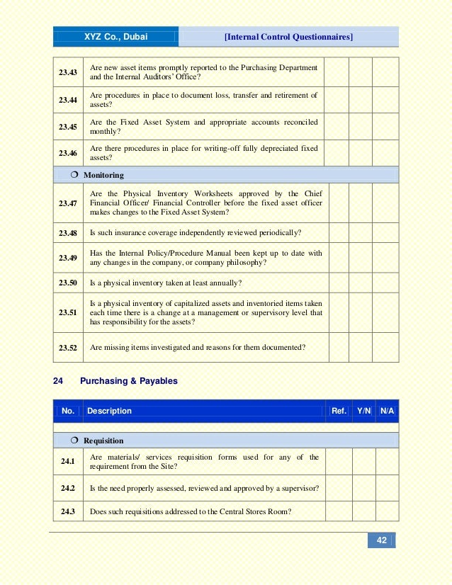 """internal control system questionnaire Internal control [questions and answers] published 9 years ago on apr 18, 2009 by  """"no matter how sophisticated a system of internal control might be,."""