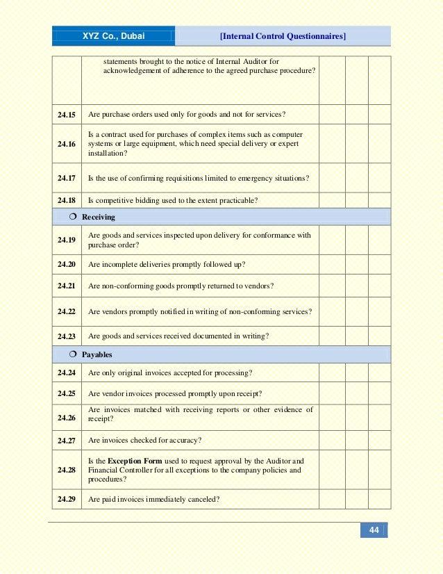 internal control system questionnaire 2 pocket – 3- reporting:$$$$the$best$accounting$system$is$of$little$value$unless$it$communicates$the$information$it$ contains$to$those$responsible$$$although$there.