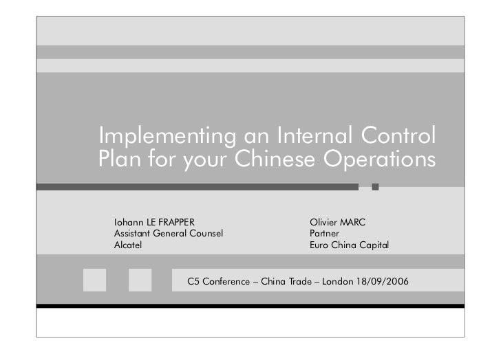 Internal Controls In China