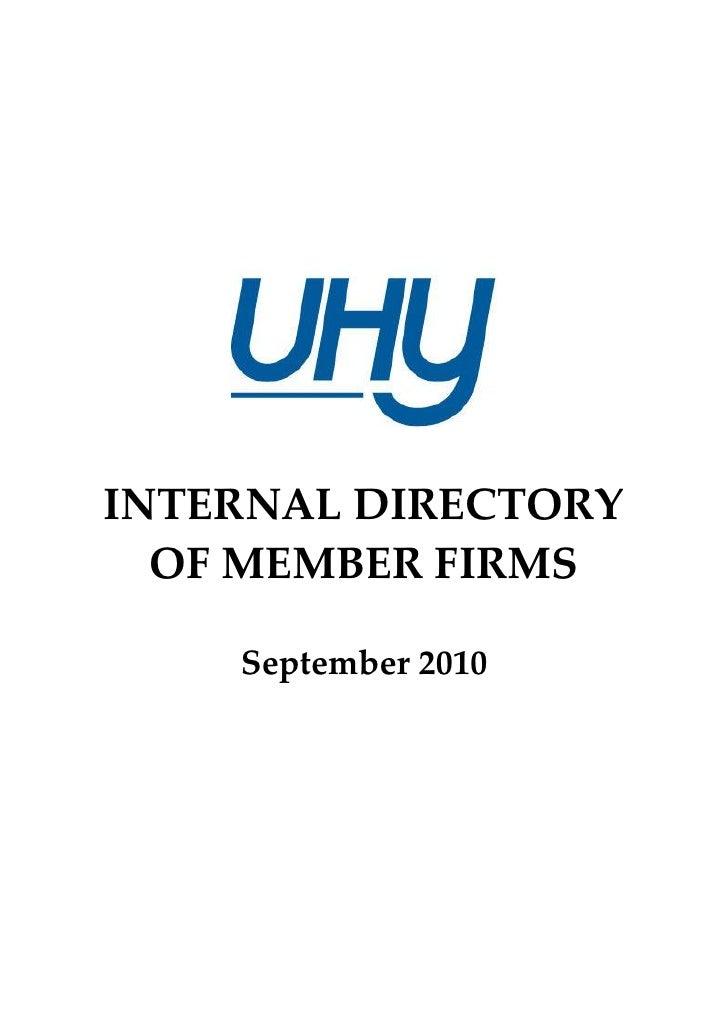 INTERNAL DIRECTORY   OF MEMBER FIRMS      September 2010