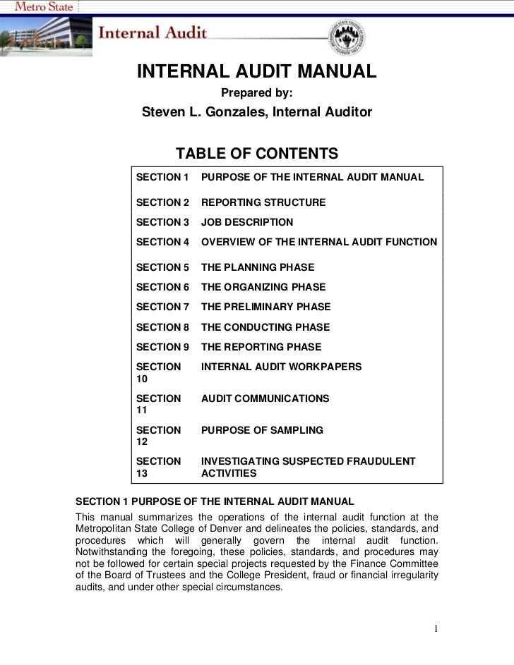 INTERNAL AUDIT MANUAL                                 Prepared by:               Steven L. Gonzales, Internal Auditor     ...