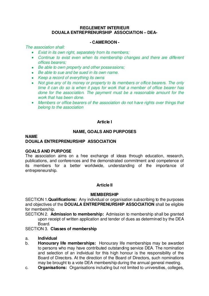 REGLEMENT INTERIEURPRIVATE <br />DOUALA ENTREPRENURSHIP  ASSOCIATION – DEA- <br />- CAMEROON -<br />The association shall:...