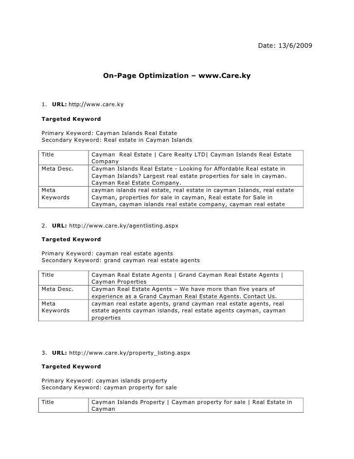 Date: 13/6/2009<br />On-Page Optimization – www.Care.ky<br /><ul><li>URL: http://www.care.ky</li></ul>Targeted Keyword<br ...