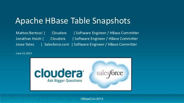 Apache HBase Table Snapshots Matteo Bertozzi | Cloudera | Software Engineer / HBase Committer Jonathan Hsieh | Cloudera | ...